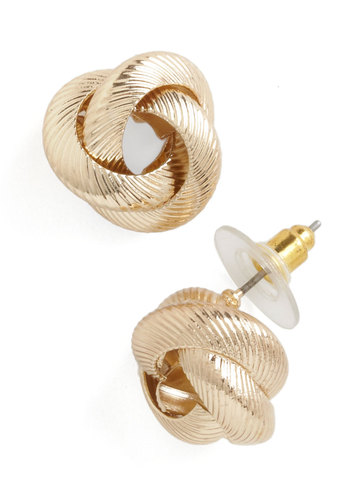 Knot to Brag Earrings - Gold, Solid, Work