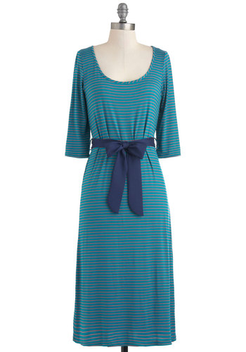 Behind the Island Dress - Long, Green, Blue, Pink, Stripes, Belted, Casual, Maxi, 3/4 Sleeve, Scoop