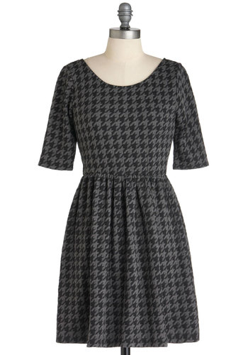 These Are the Days Dress - Short, Black, Grey, Houndstooth, Casual, A-line, 3/4 Sleeve, Work, Steampunk