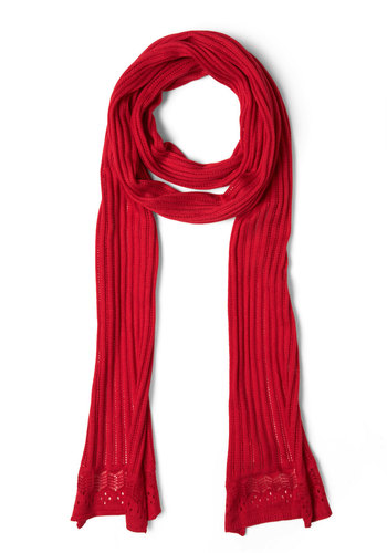 Sweetest Ingredient Scarf by Tulle Clothing - Red, Solid, Knitted, Casual, Fall, Winter