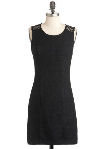 Box Seat Surprise Dress - Black, Solid, Cutout, Party, Cocktail, Sheath / Shift, Sleeveless, Short, Girls Night Out, Sheer, Prom
