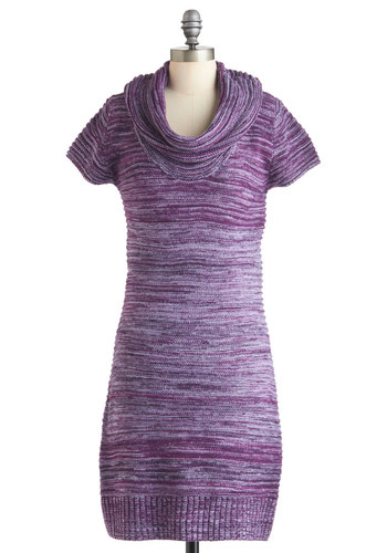 Wherever I Amethyst Dress - Purple, Casual, Sweater Dress, Short Sleeves, Fall, Mid-length