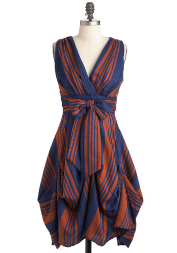 Here in My Carnival Dress in Earth by Eva Franco - Mid-length, Orange, Stripes, Belted, Casual, Empire, Sleeveless, Fall, Party, Vintage Inspired, Exclusives, Steampunk, Cotton, V Neck