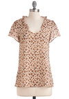 Wildly in Love Top - Tan, Brown, Black, Animal Print, Short Sleeves, Casual, Mid-length, Sheer, V Neck