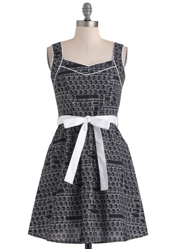You're In Control-Alt-Delete Dress - Black, White, Casual, A-line, Sleeveless, Belted, Cotton, Short, Novelty Print, Pockets, Fit & Flare, Quirky