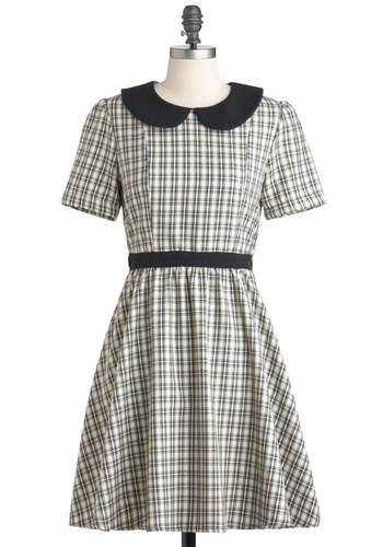 Crisscross My Heart Dress - Tan / Cream, Plaid, Peter Pan Collar, Work, A-line, Short Sleeves, Fall, Mid-length, Scholastic/Collegiate, Black, Collared, Fit & Flare