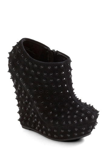 Spikes Peak Wedge - Black, Solid, Studs, High, Platform, Wedge, Party, Girls Night Out, Faux Leather