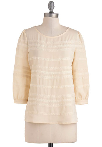 Dream of Me Top - Cream, Lace, 3/4 Sleeve, Mid-length, Work, Casual, Vintage Inspired, Pastel, Sheer