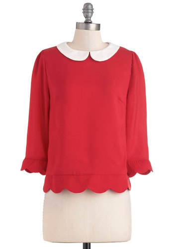 Dream Home Top - Red, Tan / Cream, Peter Pan Collar, Scallops, 3/4 Sleeve, Mid-length, Work, Vintage Inspired, Collared, Party, Holiday Party, Variation