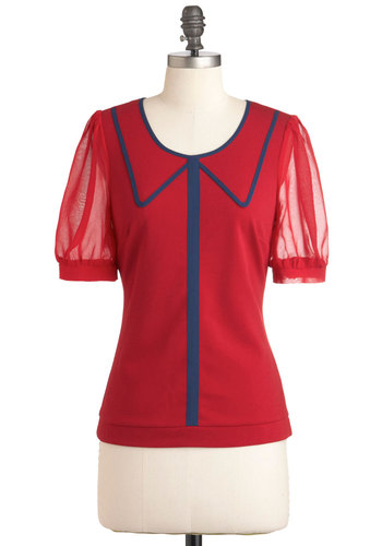 Academic Aesthetic Top - Mid-length, Red, Blue, Short Sleeves, Work, Scholastic/Collegiate, Sheer, Mod