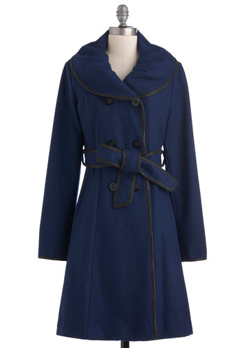 Midnight Movie Coat - Blue, Black, Solid, Trim, Long Sleeve, Winter, 3, Long