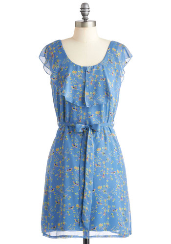 My Branch is Yours Dress - Chiffon, Mid-length, Blue, Yellow, Green, Floral, Belted, Party, Sheath / Shift, Cap Sleeves, Spring