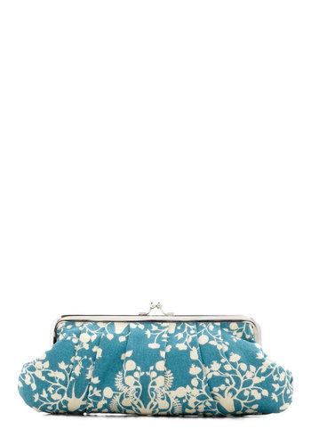 This is My Flourish Clutch - Blue, Tan / Cream, Print with Animals, Party