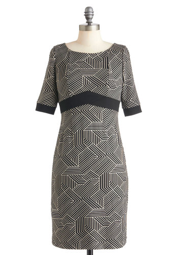 Echoes of Deco Dress - Mid-length, Tan / Cream, Black, Print, Work, Empire, Short Sleeves, Fall, Boat