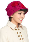 Cloche to My Heart - Pink, Red, Solid, Bows, 20s, Casual, Vintage Inspired, Winter