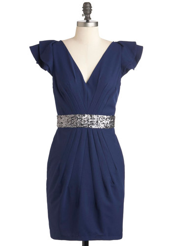 Whatever You Fancy Dress - Mid-length, Blue, Silver, Solid, Sequins, Special Occasion, Shift, Cap Sleeves, Cocktail, Holiday Party, V Neck