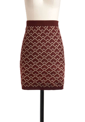 Industry Standard of Style Skirt - Mid-length, Red, White, Knitted, Print, Casual, Fall, Winter, Pencil, Bodycon / Bandage