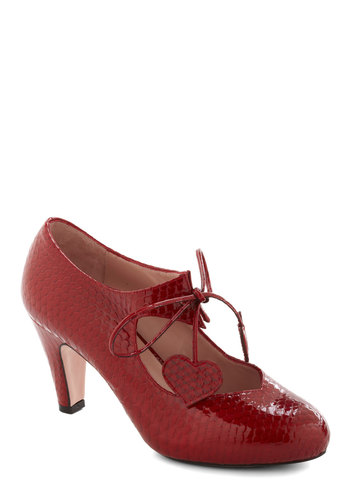 Heart of Bold Heel in Carmine Coil by Minna Parikka - Mid, Leather, Red, Animal Print, Party, Lace Up, Mary Jane, Formal