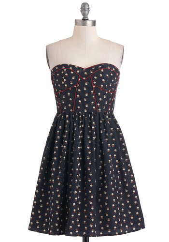 Apples for All Dress - Blue, Red, Casual, A-line, Strapless, Tan / Cream, Long, Fit & Flare, Sweetheart