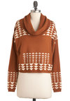 No Mountain Too High Sweater - Short, Tan, White, Long Sleeve, Casual, Rustic, Fall, Knitted, Cowl