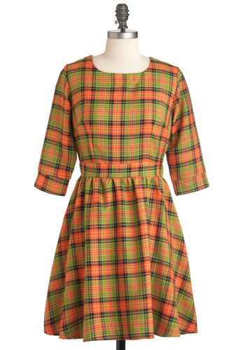 Girls Got Plaid-itude Dress - Orange, Green, Black, Plaid, Casual, A-line, 3/4 Sleeve, Fall, Mid-length, Vintage Inspired, 70s, Scholastic/Collegiate