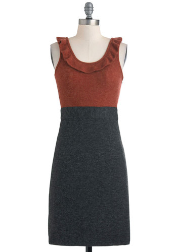 Business Admirable Dress - Mid-length, Orange, Grey, Ruffles, Work, Twofer, Sleeveless, Scholastic/Collegiate, V Neck