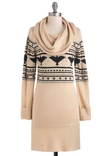 Hawk Right In Dress - Short, Cream, Black, Print, Casual, Sweater Dress, Long Sleeve, Winter, Fall, Cowl, Rustic