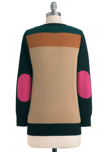 Elbow Your Own Way Cardigan - Mid-length, Green, Pink, Black, Buttons, Patch, Long Sleeve, Tan / Cream, Casual, Fall, Knitted, Scholastic/Collegiate, Button Down, Colorblocking, Mod, V Neck