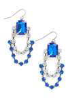 Glamour the Merrier Earrings - Blue, White, Rhinestones, Party, Luxe, Statement, Holiday Party