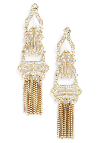 Work of Art Deco Earrings - White, Gold, Rhinestones, Vintage Inspired, Wedding, Party, Holiday Party, 20s
