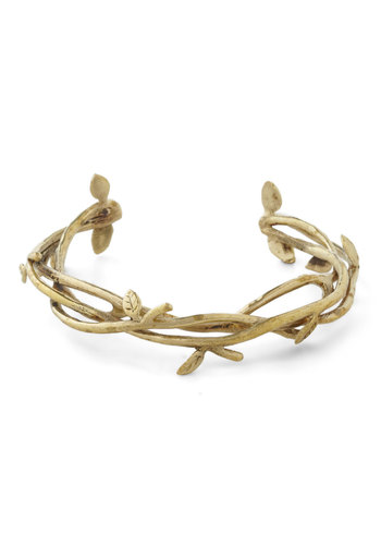 Ahead of the Vines Bracelet by Monserat De Lucca - Gold, Party, Casual, Luxe, Fairytale, Cocktail, Holiday Party