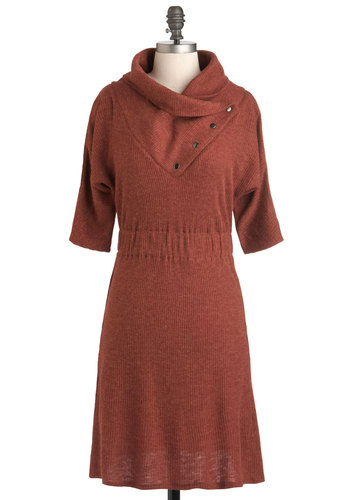 Academy Days Dress in Rust - Short, Solid, Casual, Sweater Dress, 3/4 Sleeve, Fall, Orange, Scholastic/Collegiate, Minimal, Winter