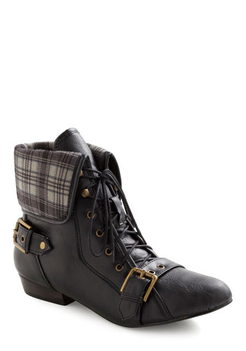 Crisscrossing Along Boot - Black, Multi, Plaid, Buckles, Lace Up, Vintage Inspired, Fall, Faux Leather, Low