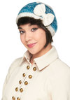 Ice Cap Hat by Tulle Clothing - Blue, White, Solid, Bows, Knitted, Winter, Casual