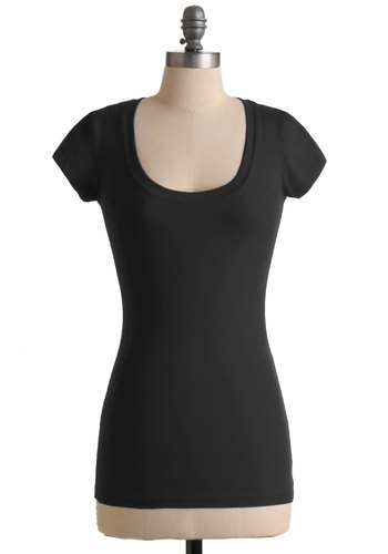 What's the Scoop Neck Tee in Black - Mid-length, Black, Solid, Casual, Jersey, Cotton, Scoop, Black, Short Sleeve, Top Rated, WPI