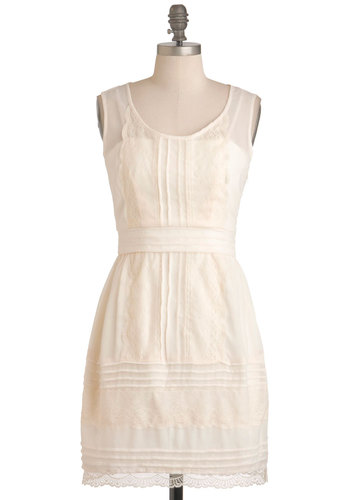 The Sweeter the Buttercream Dress - Mid-length, Cream, Lace, A-line, Sleeveless, Spring, Casual, Party, Vintage Inspired, 30s, French / Victorian, Graduation, Wedding, Bride