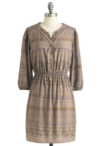 Geome-tree House Dress - Tan, Multi, Print, Buttons, Casual, Shirt Dress, 3/4 Sleeve, Fall, Mid-length, Sheer, Button Down