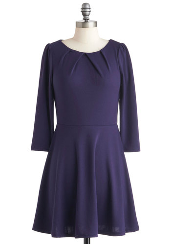 Ready for Accessories Dress - Purple, Solid, Casual, Fit & Flare, Long Sleeve, Fall, Cotton, Short, Pleats, Minimal, Winter