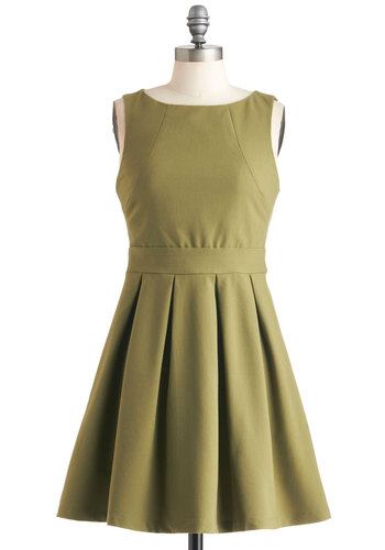 Seams Like Only Yesterday Dress - Green, Solid, Pleats, Minimal, A-line, Sleeveless, Exposed zipper, Party, Pockets, Fit & Flare, Work, Mid-length