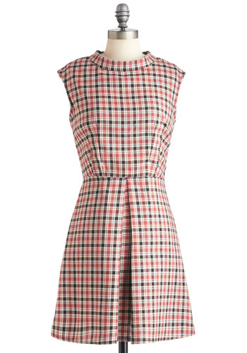 Stack of Books Dress - Red, Black, Plaid, A-line, Fall, Mid-length, Scholastic/Collegiate, White, Pleats, Casual, Vintage Inspired, 60s, Cap Sleeves, Mod