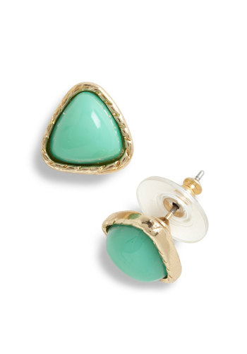 Can't Wait for Wintergreen Earrings - Gold, Solid, Vintage Inspired, 80s, Pastel, Green, Mint
