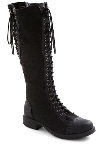 Tied for First Place Boot - Black, Exposed zipper, Military, Lace Up, Casual, 90s, Fall, Winter, Steampunk, Low