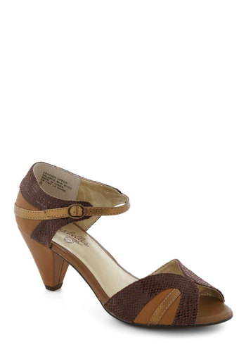 At First Sight Heel in Whiskey by Seychelles - Tan, Red, Gold, Mid, Peep Toe, Work, Vintage Inspired, 50s, Leather