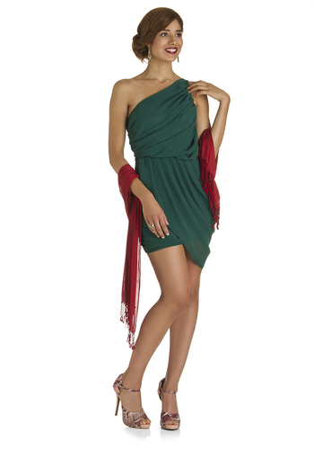 Latest Love Dress in Evergreen - Mid-length, Green, Solid, Wedding, Party, Wrap, One Shoulder, Holiday Party