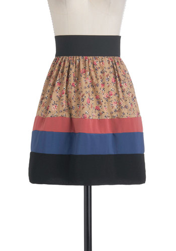 Not What It Seamstress Skirt - Multi, Blue, Pink, Tan / Cream, Black, Floral, Casual, A-line, Mid-length, Cotton, Tis the Season Sale