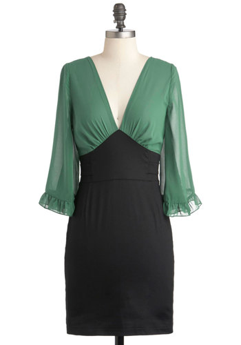 Office Envy Green Dress - Short, Cotton, Black, Green, Party, Work, Vintage Inspired, Long Sleeve, Fall, Sheer, V Neck