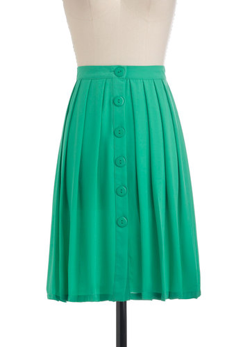 Your Attention Pleats Skirt - Green, Solid, Buttons, Pleats, A-line, Mid-length, Casual