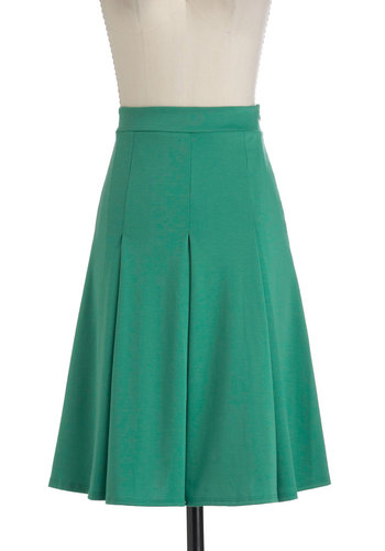Foodie for Thought Skirt in Mint - Long, Green, Solid, Pleats, A-line, Work, Minimal, Variation