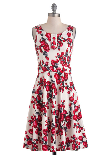 Swooner or Later Dress - Cotton, Long, Red, Grey, White, Floral, Buttons, Party, A-line, Sleeveless, Summer, Daytime Party, Fit & Flare