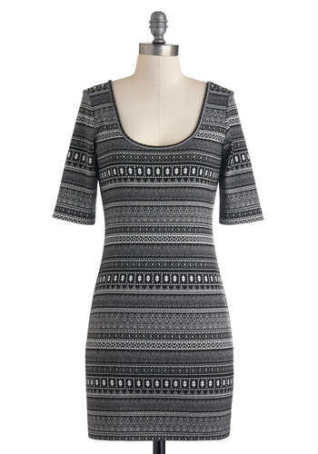 Day to Nightlife Dress - Short, Black, White, Print, Bodycon / Bandage, Short Sleeves, Fall, Casual, Scoop